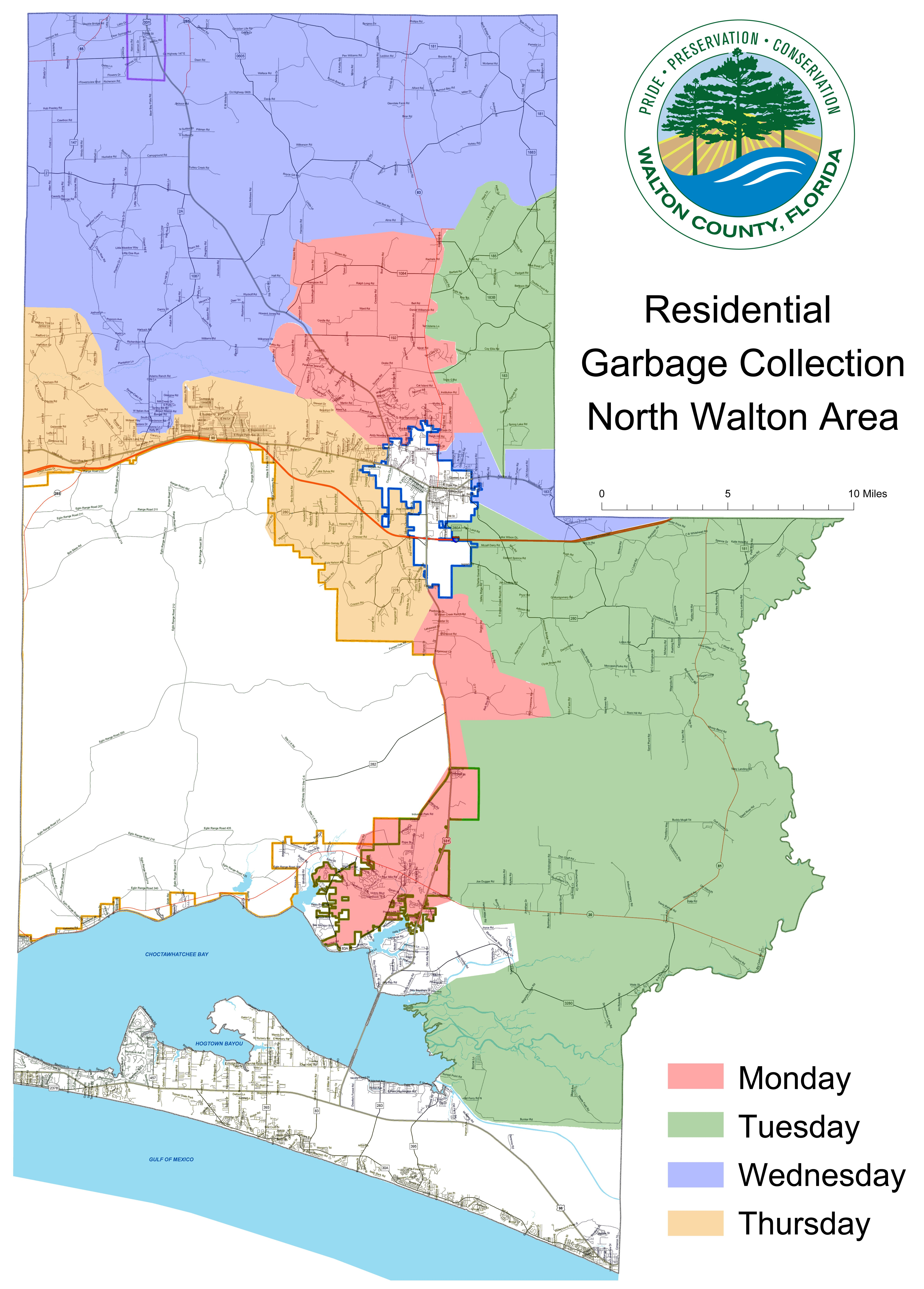 South Walton Florida Map.Residential Waste Collection Walton County Fl Home Page